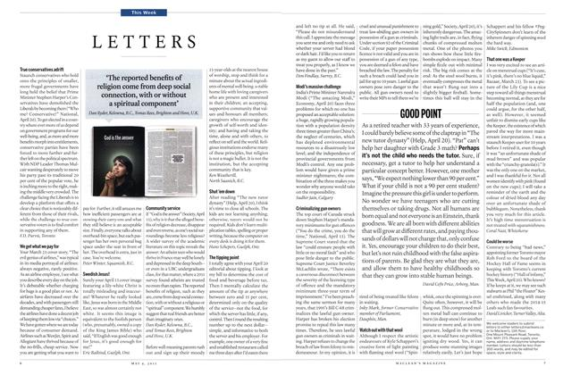 Article Preview: LETTERS, May 2015 | Maclean's