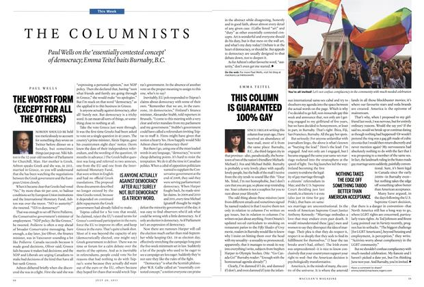 Article Preview: THIS COLUMN IS GUARANTEED 100% GAY, July 2015 | Maclean's