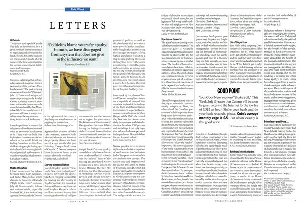 Article Preview: LETTERS, August 2015 | Maclean's