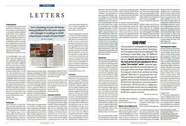 Article Preview: LETTERS, September 2015   Maclean's