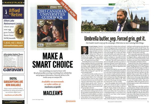 Article Preview: Umbrella butler, yep. Forced grin, got it., September 2015 | Maclean's