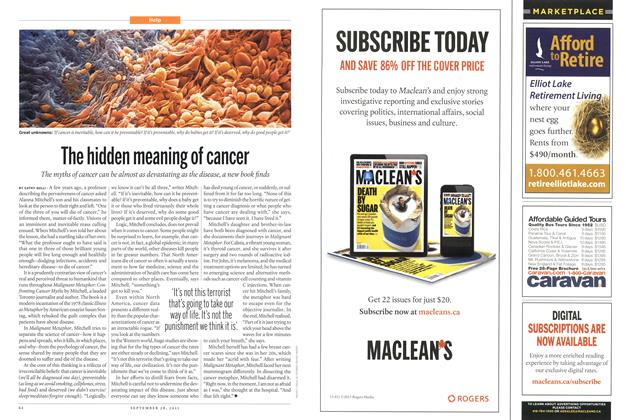 Article Preview: The hidden meaning of cancer, September 2015 | Maclean's