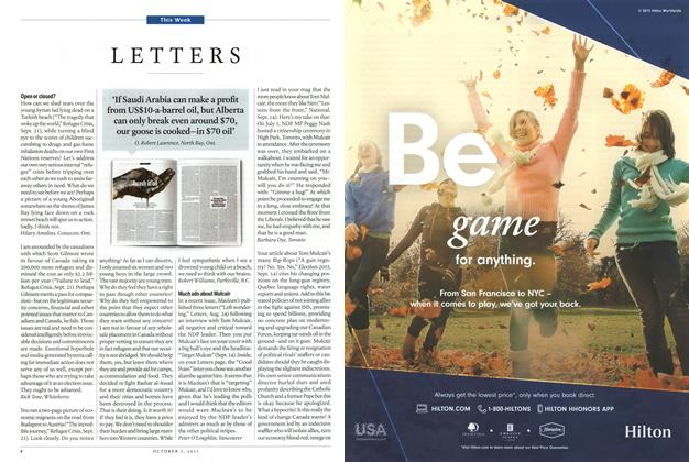 Article Preview: LETTERS, October 2015 | Maclean's