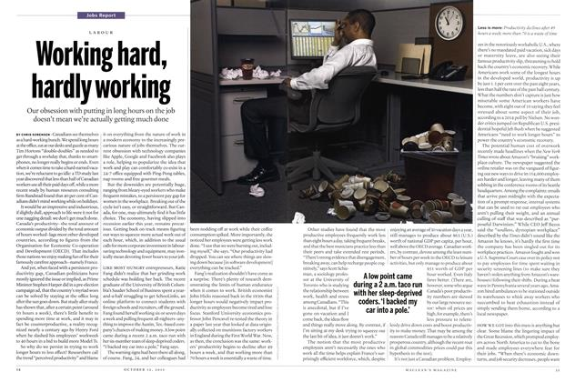 Article Preview: Working hard, hardly working, October 2015 | Maclean's