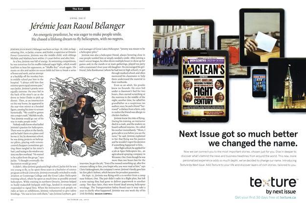 Article Preview: 1990-2015 Jérémie Jean Raoul Bélanger, October 2015 | Maclean's