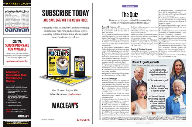 Article Preview: The Quiz, November 2015 | Maclean's