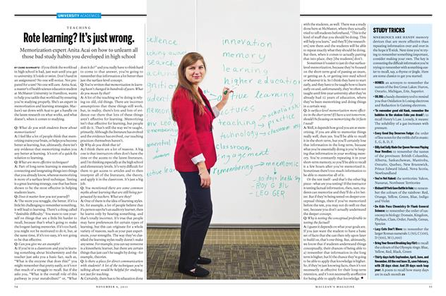 Article Preview: Rote learning? It's just wrong., November 9 2015 | Maclean's