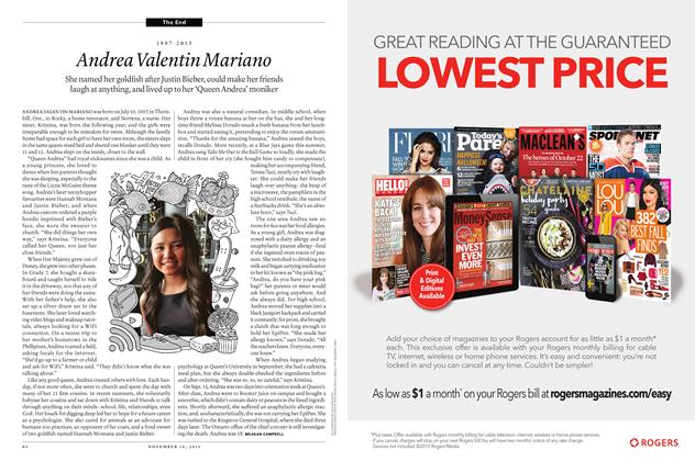 Article Preview: 1997 - 2015 Andrea Valentin Mariano, November 16 2015 | Maclean's