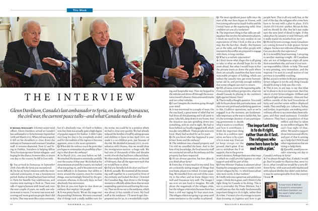 Article Preview: THE INTERVIEW, November 16 2015 | Maclean's