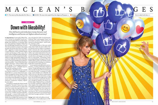 Article Preview: Down with likeability!, November 23 2015 | Maclean's