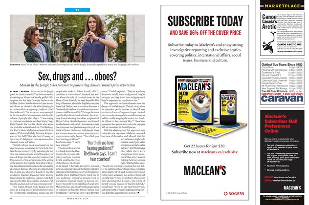Article Preview: Sex, drugs and ... oboes?, February 8 2016 | Maclean's