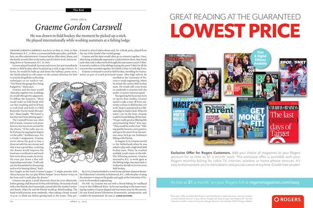 Article Preview: 1994-2016 Graeme Gordon Carswell, April 4 2016 | Maclean's