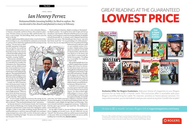 Article Preview: Ian Henrey Pervez (1992-2016), June 6 2016 | Maclean's