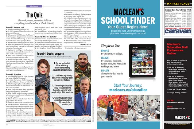 Article Preview: The Quiz, August 1, 2016 2016 | Maclean's