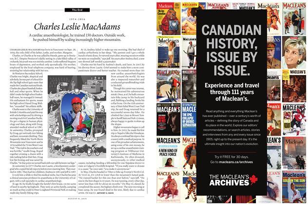 Article Preview: 1954-2016 Charles Leslie MacAdams, AUGUST 8 2016 | Maclean's
