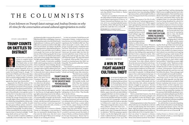 Article Preview: THE COLUMNISTS, October 3 2016 | Maclean's