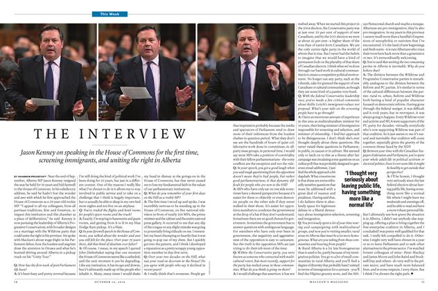 Article Preview: THE INTERVIEW, October 10 2016 | Maclean's