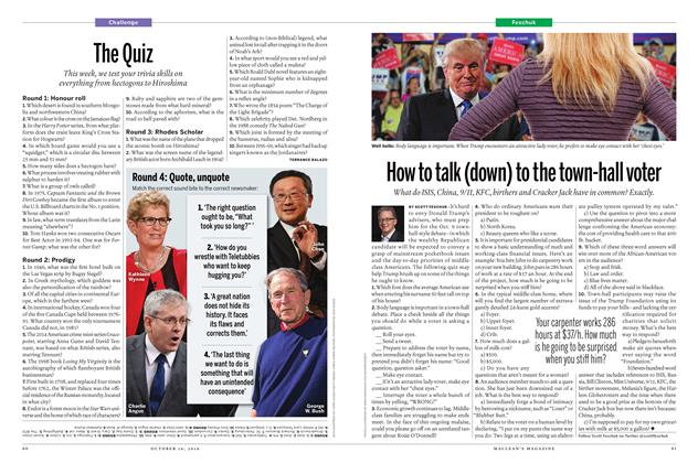 Article Preview: The Quiz, October 17 2016 | Maclean's