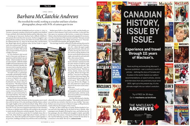 Article Preview: 1942-2016 Barbara McClatchie Andrews, OCTOBER 31, 2016 2016 | Maclean's