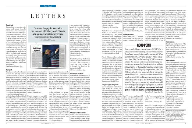 Article Preview: LETTERS, NOVEMBER 21 2016 | Maclean's