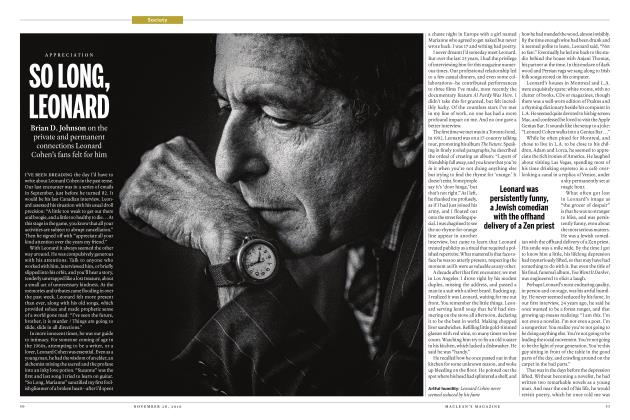 Article Preview: SO LONG, LEONARD, November 28 2016 | Maclean's
