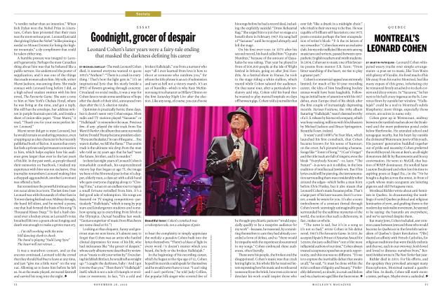 Article Preview: MONTREAL'S LEONARD COHEN, November 28, 2016 2016 | Maclean's