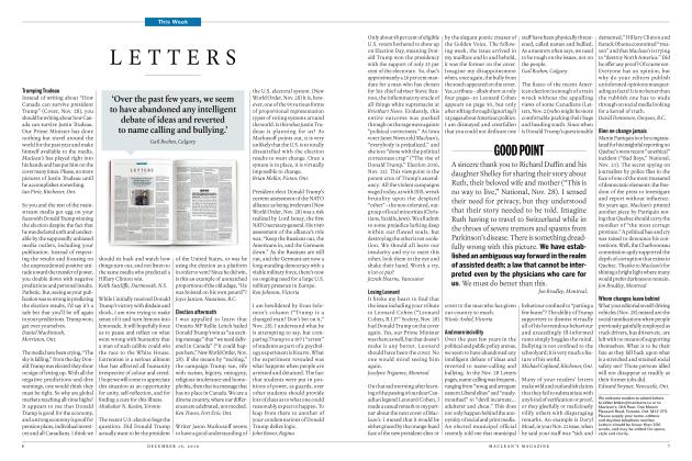 Article Preview: LETTERS, December 19 2016 | Maclean's