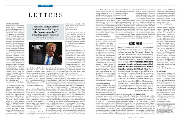 Article Preview: LETTERS, JANUARY 2017 | Maclean's