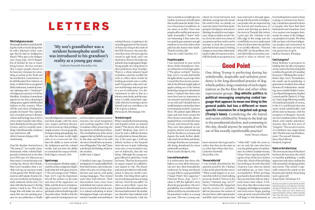 Article Preview: LETTERS, OCTOBER 2017 2017 | Maclean's