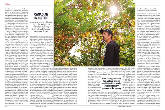 Article Preview: CANADIAN INJUSTICE, NOVEMBER 2017 | Maclean's