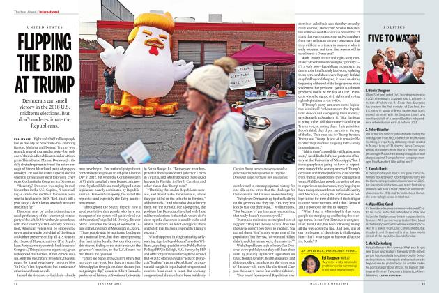 Article Preview: FLIPPING THE BIRD AT TRUMP, JANUARY 2018 | Maclean's