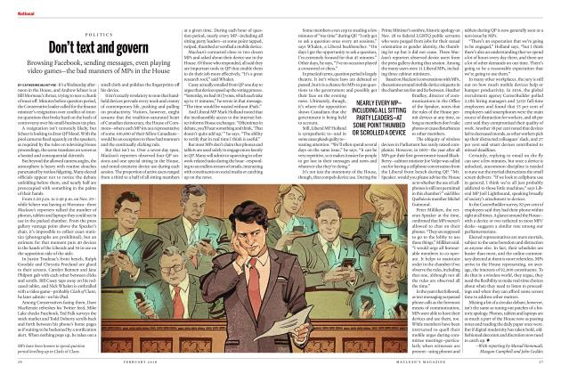 Article Preview: Don't text and govern, FEBRUARY 2018 2018 | Maclean's