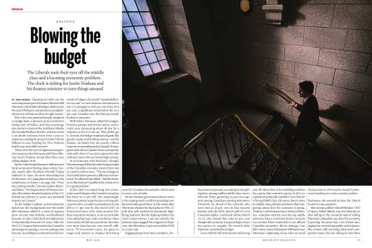 Blowing the budget - MAY 2018 | Maclean's