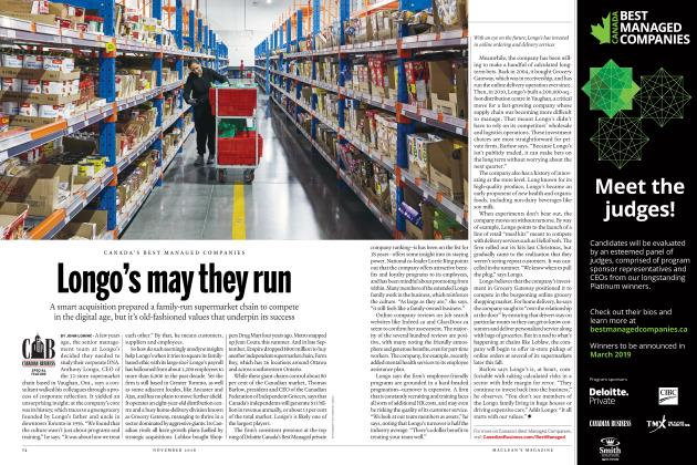 Article Preview: Longo's may they run, NOVEMBER 2018 2018 | Maclean's