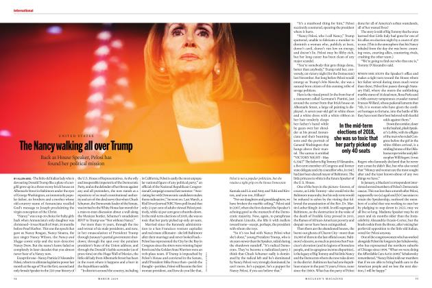 Article Preview: The Nancy walking all over Trump, MARCH 2019 | Maclean's