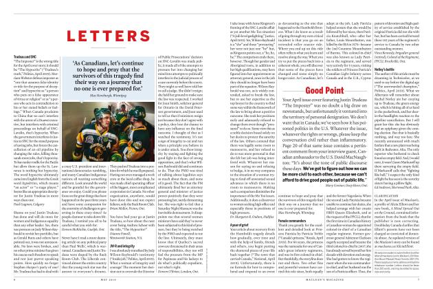 Article Preview: LETTERS, MAY 2019 | Maclean's