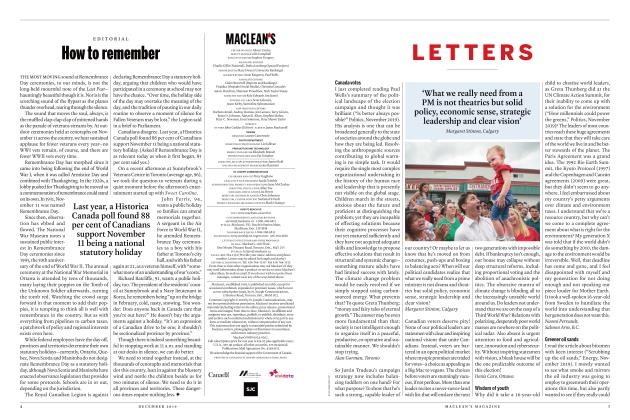 Article Preview: LETTERS, DECEMBER 2019 | Maclean's