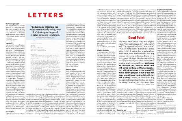 Article Preview: LETTERS, APRIL 2020 | Maclean's