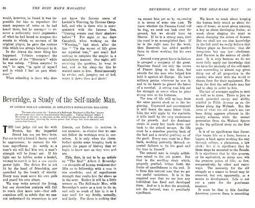 Beveridge, a Study of the Self-made Man.