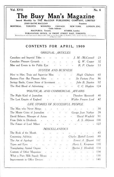 Issue: - April 1909   Maclean's