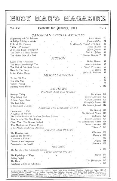 Issue: - January 1911 | Maclean's