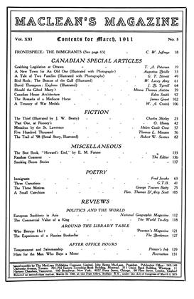 Cover for the March 1 1911 issue