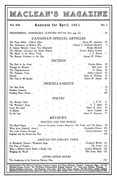 Issue: - April 1911 | Maclean's