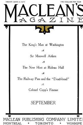 SEPTEMBER, 1911 | Maclean's