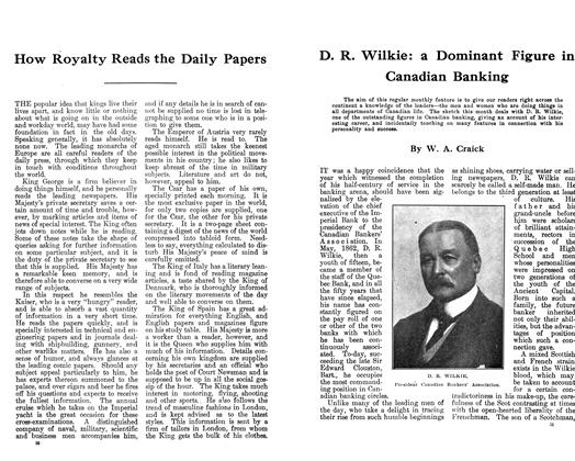 D. R. Wilkie: a Dominant Figure in Canadian Banking