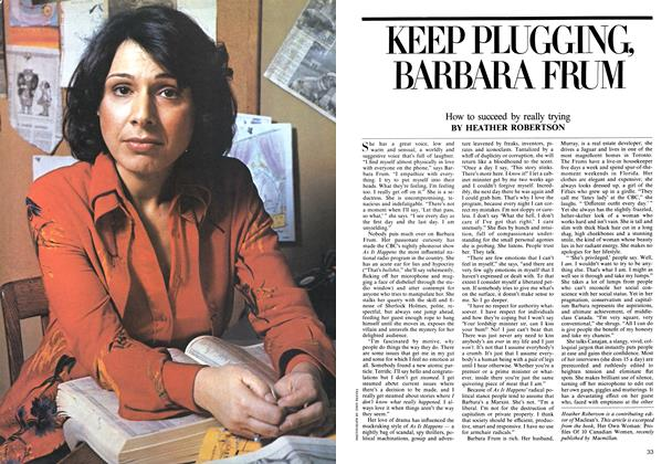 KEEP PLUGGING, BARBARA FRUM