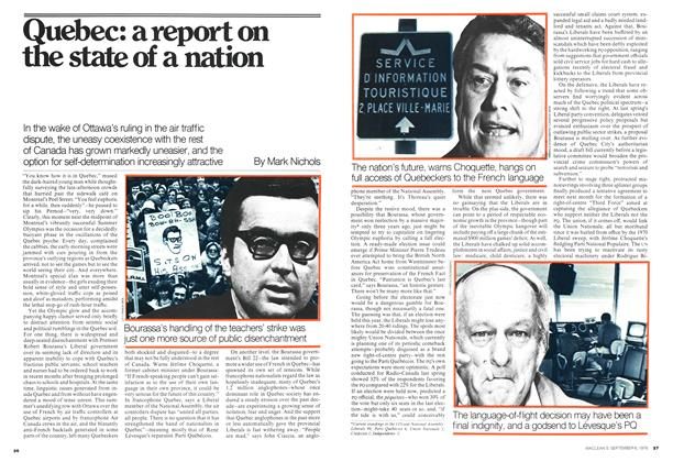 Quebec: a report on the state of a nation