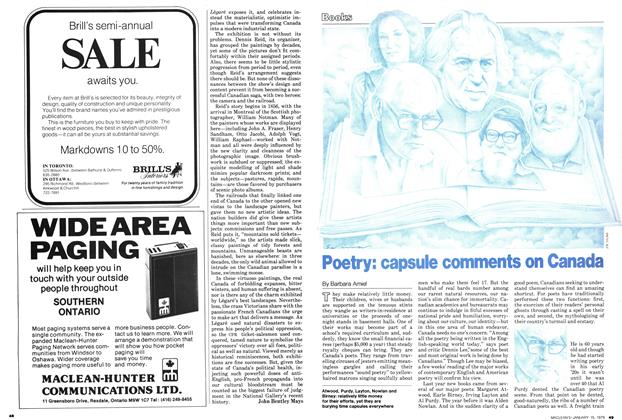 Poetry: capsule comments on Canada