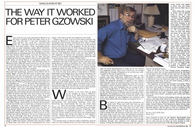 THE WAY IT WORKED FOR PETER GZOWSKI