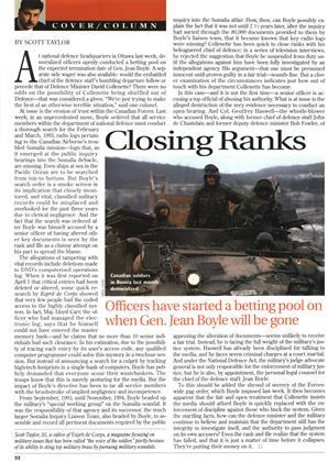 Closing Ranks, Page: 22 - APRIL 15, 1996 | Maclean's